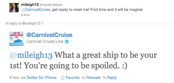 Carnival Cruises Social Media Tweet